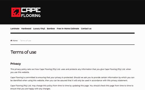 Screenshot of Terms Page capeflooring.co.za - Terms of use - Cape Flooring - captured July 13, 2017