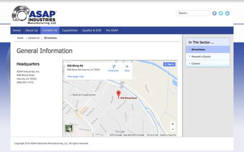 Screenshot of Maps & Directions Page asapind.net - ASAP Industries - Directions - captured Nov. 19, 2016