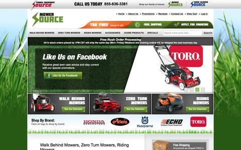 Screenshot of Home Page mowersource.com - Zero Turn Lawn Mowers | Riding Lawn Mowers | Mower Source - captured Aug. 17, 2017