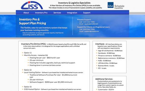 Screenshot of Pricing Page cissltd.com - [CISS] Inventory Pro Features - captured Jan. 29, 2016