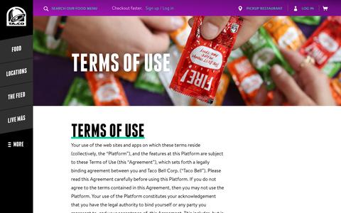 Terms Of Use - Taco Bell