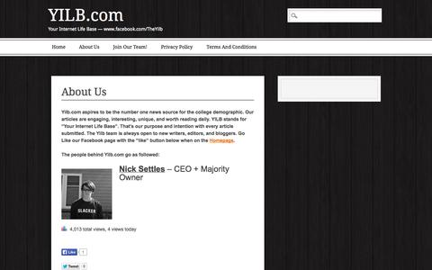 Screenshot of About Page yilb.com - YILB.com | About Us - captured Oct. 27, 2014
