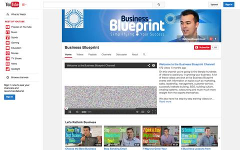 Screenshot of YouTube Page youtube.com - Business Blueprint  - YouTube - captured Oct. 29, 2014