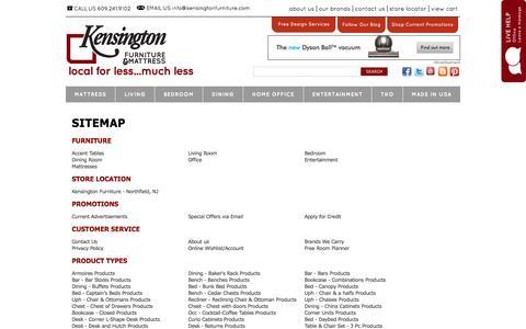 Screenshot of Site Map Page kensingtonfurniture.com - Kensington Furniture Sitemap - Northfield, Pleasantville, Atlantic City, NJ Furniture Store - captured Sept. 30, 2014