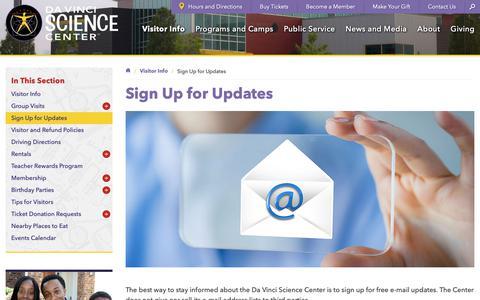 Screenshot of Signup Page davincisciencecenter.org - Sign Up for Updates - Da Vinci Science Center - Da Vinci Science Center - captured Nov. 6, 2018