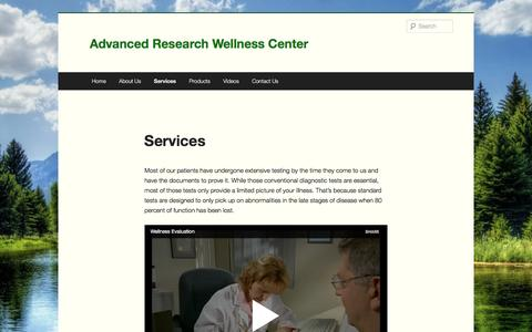 Screenshot of Services Page ar4h.com - Services | Advanced Research Wellness Center - captured Nov. 20, 2016
