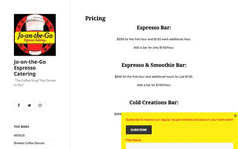 Screenshot of Pricing Page jo-on-the-go.com - Pricing – Jo-on-the-Go Espresso Catering - captured July 3, 2018
