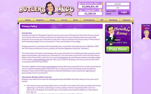 Screenshot of Privacy Page butlersbingo.com - Privacy Policy - captured Sept. 23, 2014