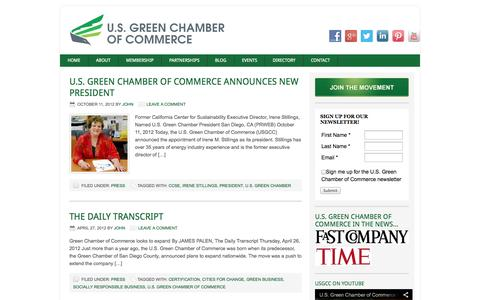 Screenshot of Press Page usgreenchamber.com - Press Archives - U.S. Green Chamber of Commerce | Cities for Change - captured Oct. 3, 2014