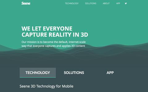 Screenshot of Home Page seene.co - Seene: Everyone can capture reality in 3D - captured July 23, 2016