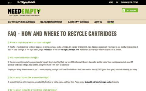 Screenshot of FAQ Page needempty.com - FAQ : Where to recycle ink cartridges ... - NeedEmpty - captured July 8, 2018