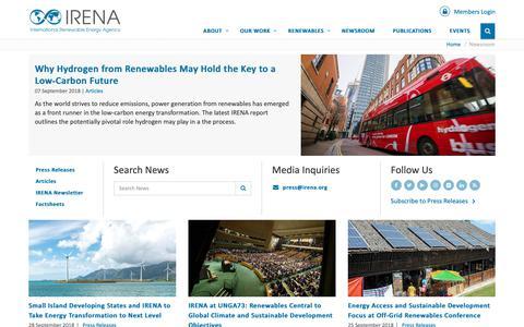Screenshot of Press Page irena.org - IRENA Newsroom - captured Oct. 2, 2018