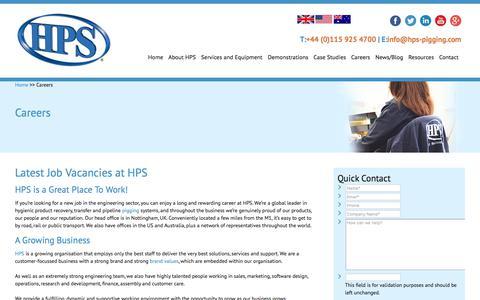 Screenshot of Jobs Page hps-pigging.com - Careers at HPS - HPS - captured July 9, 2017