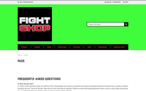 Screenshot of FAQ Page fightshop.com - FAQs - captured Nov. 3, 2018