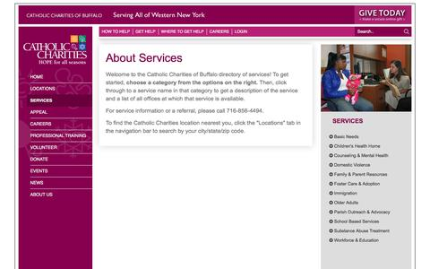 Screenshot of Services Page ccwny.org - Services : Catholic Charities of WNY - captured July 17, 2017
