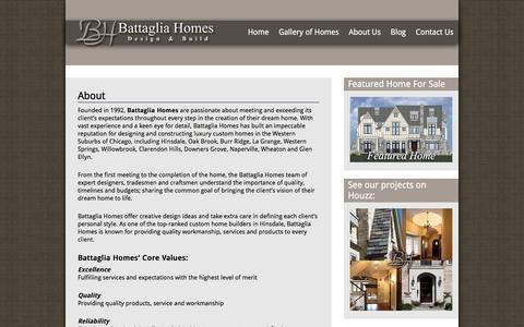 Screenshot of About Page battagliahomes.com - About Battaglia Homes- Custom Home Builder - captured Dec. 30, 2015