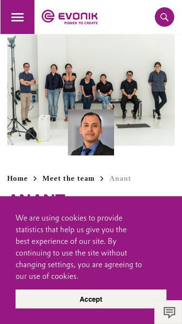 Screenshot of Team Page  evonik.com - Anant                                                                - Evonik Careers