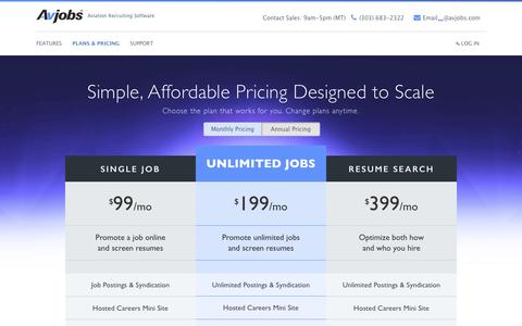 Screenshot of Pricing Page avjobs.com - Promote Aviation Jobs online and screen resumes - captured Nov. 19, 2016