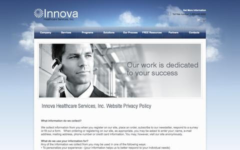 Screenshot of Privacy Page innova4health.com - Privacy Policy - Innova - captured Oct. 6, 2014