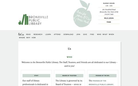 Screenshot of Contact Page FAQ Page Maps & Directions Page Hours Page bronxvillelibrary.org - Us - captured April 24, 2017