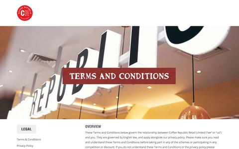 Screenshot of Terms Page coffeerepublic.co.uk - Terms & Conditions – Coffee Republic - captured July 20, 2018