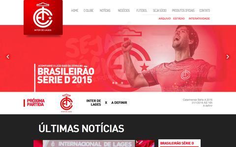Screenshot of Home Page interdelages.com.br - Internacional de Lages - 2015! Vamos Leão Baio! - captured Oct. 8, 2015