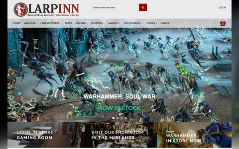 Screenshot of Home Page larpinn.co.uk - Larp Inn- UK Larp store for costume, armour and weapons for larpers. - captured July 15, 2018