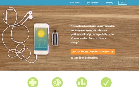 Screenshot of Home Page sunsprite.com - Wearable Sun & Light Tracker | SunSprite - captured Nov. 3, 2015