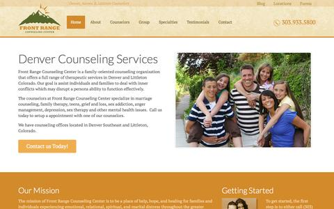 Screenshot of Home Page frontrangecounselingcenter.com - Denver Counseling - Littleton Counselors        Front Range Counseling Center - captured Sept. 30, 2014