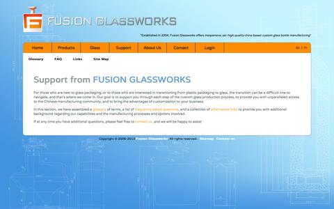 Screenshot of Support Page fusion-sourcing.com - Support - Fusion Glassworks - captured Sept. 30, 2014