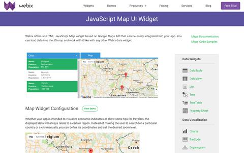 Screenshot of Maps & Directions Page webix.com - Map Widget - JavaScript UI component based on Google Maps - Webix UI - captured Oct. 28, 2017