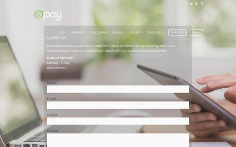 Screenshot of Contact Page atpay.com - Contact Us - @Pay | Mobile Giving Technology - captured Nov. 1, 2017