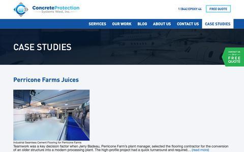 Screenshot of Case Studies Page cps-west.com - Case Studies - Concrete Protection Systems West Inc - captured Sept. 29, 2018