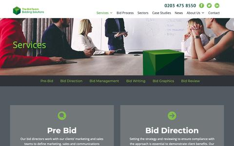 Screenshot of Services Page thebidteam.com - Services - The Bid Team - captured Oct. 20, 2018
