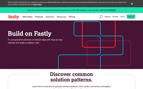 Screenshot of Developers Page fastly.com - Build on Fastly - captured Aug. 7, 2019