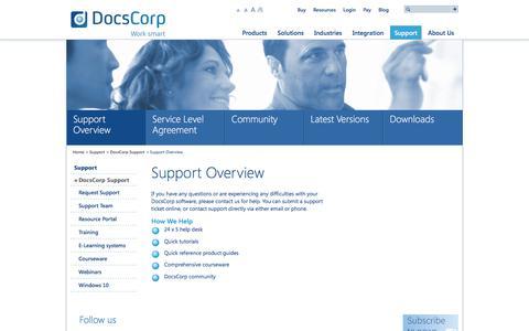 Screenshot of Support Page docscorp.com - Support Overview | DocsCorp - captured June 4, 2017