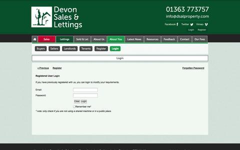 Screenshot of Login Page devonsalesandlettings.co.uk - Login - Devon Sales and Lettings - captured Oct. 5, 2014