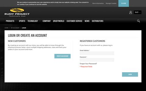 Screenshot of Login Page rudyproject.com - Customer Login | Rudy Project - captured Aug. 15, 2016