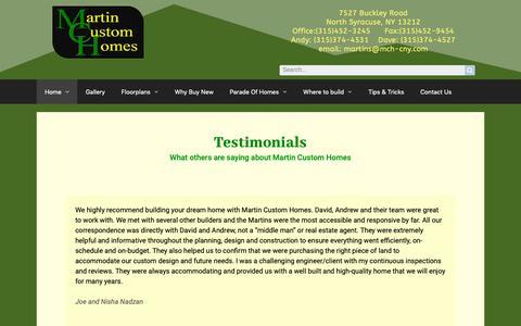 Screenshot of Testimonials Page mch-cny.com - Testimonials – Martin Custom Homes - captured Oct. 17, 2018