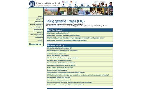 Screenshot of FAQ Page universidad-internacional.com - FAQs - Lernen Sie Spanisch an der rennomierten Universidad Internacional in Cuernavaca, Mexiko. - captured June 11, 2016