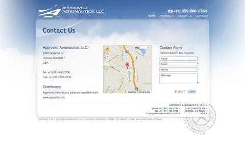 Screenshot of Contact Page approvedaeronautics.com - Approved Aeronautics - Contact Us - captured Oct. 4, 2014
