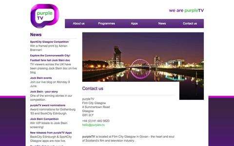 Screenshot of Contact Page purpletv.tv - purpleTV :: we are purpleTV   television and digital production – contact us - captured Sept. 30, 2014