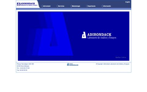 Screenshot of Home Page adirondack.es captured Oct. 4, 2014