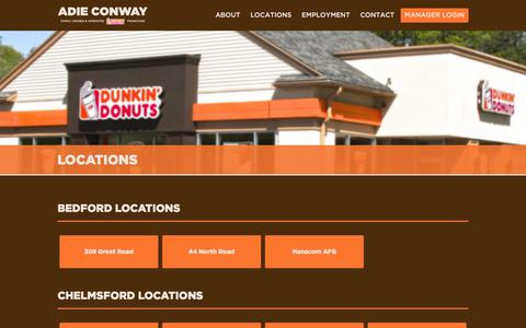 Screenshot of Locations Page adieconway.com - Locations | Adie Conway - Dunkin' Donuts Franchise - captured Oct. 7, 2017