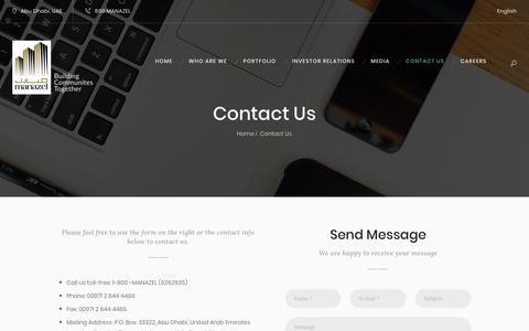 Screenshot of Contact Page manazel-re.com - Contact Us - MANAZEL - captured Oct. 1, 2018