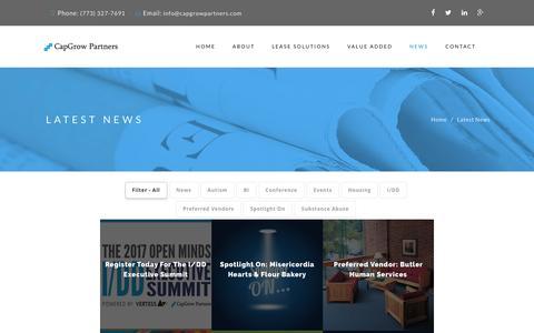 Screenshot of Press Page capgrowpartners.com - Latest News - CapGrow Partners - captured Oct. 20, 2016