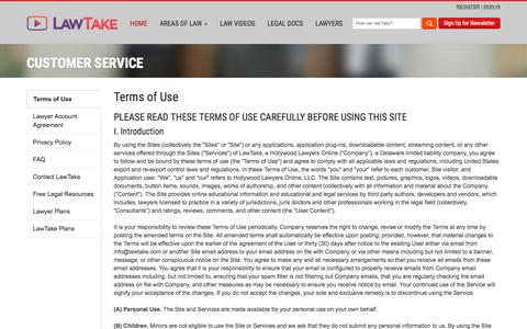 Screenshot of Contact Page Support Page Terms Page lawtake.com - Customer Service - We Can Help | LawTake - captured July 16, 2018