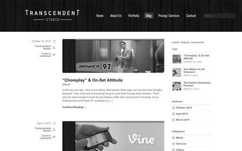 Screenshot of Blog transcendent-studio.com - Transcendent Studio     Blog - captured Sept. 30, 2014
