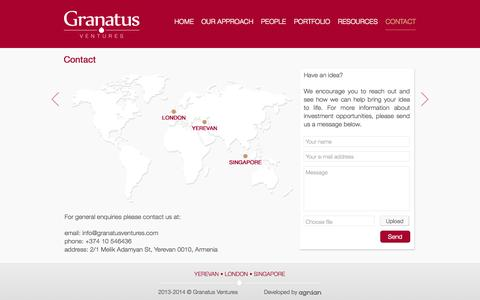 Screenshot of Contact Page granatusventures.com - Contact | Granatus Ventures - captured Sept. 30, 2014