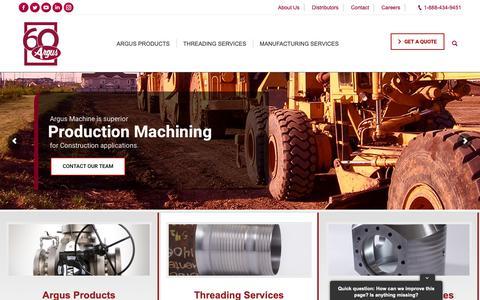 Screenshot of Home Page argusmachine.com - Argus Custom Machining, Threading and Oilfield component fabrication - captured Dec. 18, 2018